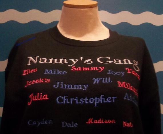 Custom Embroidery Grandparent Nannys Gang Crew Etsy