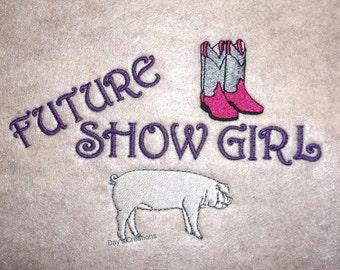 Toddler livestock pig shirt - future hog shower toddler shirt- embroidered toddler pig shirt - custom made hog shower t-shirt