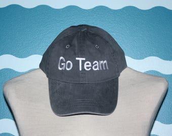 Go Team Baseball Cap - Team Spirit ball cap- embroidered baseball cap - Custom Hat - custom embroidery - Team Sports Fan - Trucker Cap