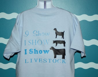 Custom Livestock Shower - Goat Lamb Cow shower T-shirt - Barn Hopper Shower Shirt - Show Barn T-shirt - County Fair Shirt - FFA 4H kid