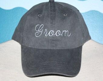 Groom Baseball cap - wedding baseball cap - wedding ball cap - custom baseball hat - Embroidered baseball hat - groom baseball hat