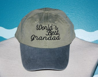 World's Best Grandad Baseball Cap - Grandad Ball Cap - Baseball Hat For Grandad - Custom Embroidered Hat - Father's Day Gift - Under 20