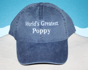 Poppy Baseball Hat - World's Greatest Poppy Ball Cap - Embroidered Baseball Cap - Custom Embroidered ball cap - Grandparents' Day Gift