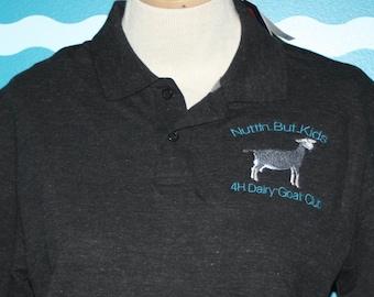 Livestock Polo - Custom Polo Shirt - Dairy Goat Polo Shirt - Personalized Polo Shirt - Ladies Fitted Polo Shirt - Custom Embroidered Polo
