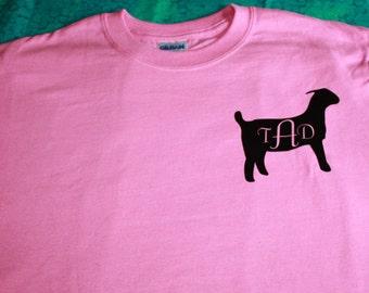 Youth t-shirt - monogramed show meat goat - custom goat t-shirt - livestock goat shower - livestock kid - goat lover