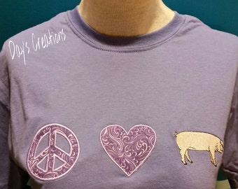 Peace love pig embroidered shirt - Great custom hog t-shirt - peace love hog embroidered shirt - custom pig embroidered shirt