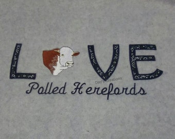 Embroidered hooded sweatshirt - Love polled Hereford cow embroidered hooded sweatshirt  - Custom Hereford cow pull over hoodie sweatshirt