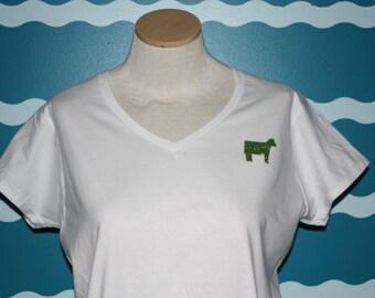 Ladies Fitted V-neck tshirt - small cow left chest design t-shirt - cow lover tshirt - heifer vneck shirt - ladies tshirt