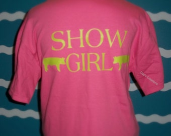 Show pig shirt - show pig tees - girls shirts show pig - Livestock show pig shirt - pig shower tshirt -  girl pig shower t-shirt