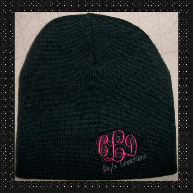 4310f3040ee Monogrammed Beanie Cap Personalized Winter Hat Embroidered