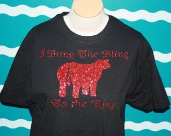 Bling Show Heifer t-shirt - Custom Bling Cow T-shirt - Livestock Show Girl Bling Shirt - Cow Shower T-Shirt - Barn Wear - County Fair Bling