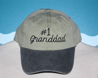 Granddad Baseball Cap - Embroidered Hat - Custom Ball Cap - Number 1 Granddad Hat - Custom Embroidery - Granddad Gift - Grandparents Day