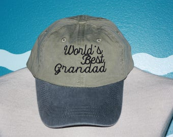 Embroidered World's Best Grandad - Baseball cap - Grandad Ball Cap - Baseball hat for Grandad - Custom Embroidered hat - Grandparent Gift