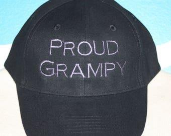 Proud Grampy Custom Baseball Cap - Custom Grampy baseball hat - Embroidered custom hat - Fadded Basebase Ball Cap - Proud Grampy Ball Cap