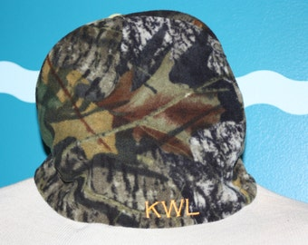 Fleece Camouflage beanie winter hat. fleece camo beanie.  monogrammed fleece winter cap. skull cap beanie