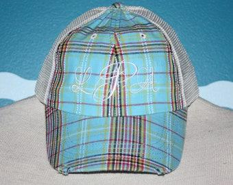 Monogrammed Baseball Cap -  Plaid Trucker Cap - Personalized Hat - Baseball Hat - Embroidered monogram - Custom Ball Cap - Destressed Hat