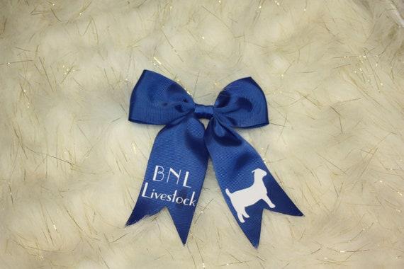 Goat Hair Accessorie Monogrammed Heifer Hair Bow Show Bling Hair Bow Cattle Hair Barrette Livestock Shower Hair Tie