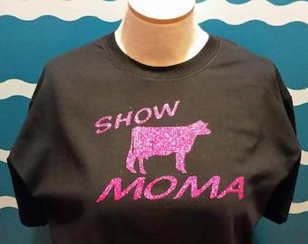 Dairy Cow Livestock Show Mom T-shirt - livestock show mom shirt - dairy cow mom shirt - dairy graphic tee -  sparkling dairy cow mom t-shirt