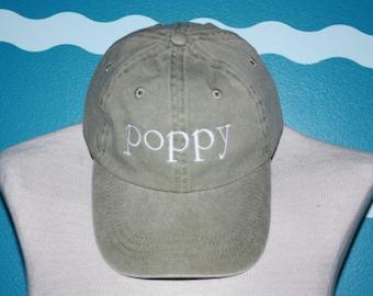 Embroidered poppy hat - Custom poppy baseball cap - Embroidered baseball hat - Grandparent baseball cap - Poppy gift - Custom Gift