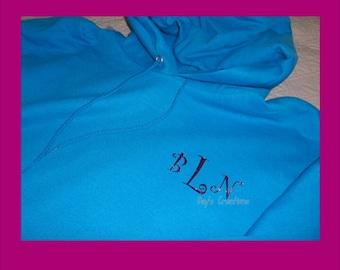 Hooded Monogram Sweatshirt - Plus Size Monogrammed Shirt - Custom Gift - Hoodie Sweatshirt