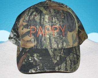 Pappy Baseball Cap - Custom Camo Ball Cap - Custom Gift - Gift for Pappy - Custom Pappy gift - Camo Baseball Cap - Camo Gift - Trucker Cap