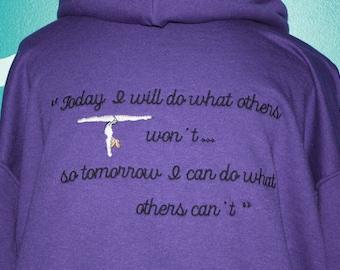 Embroidered hooded Gymnastics quote sweatshirt - custom made gymnastic sweatshirt