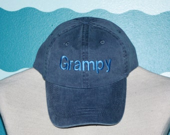 Grampy Custom Baseball Cap - Custom Grampy baseball hat - Embroidered custom hat - Fadded Basebase Ball Cap