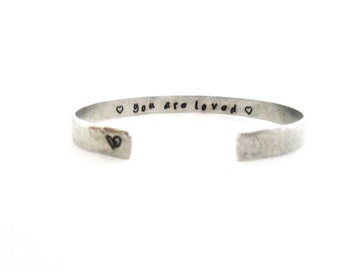 You Are Loved Secret Message Cuff Bracelet Hammered Texured  Customizable
