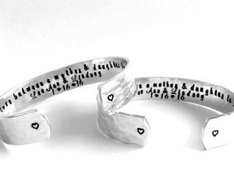 Personalized Mother & Daughter Bracelet Set, Secret Message, Textured, A Pair TWO Bracelets, Friendship, LoVe Bracelets. Customizable
