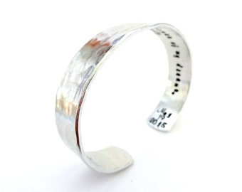 Personalized Secret Message Cuff Bracelet, Your Wording Stamped inside, Hammered Texured, Customizable, Valentines Gift For Her