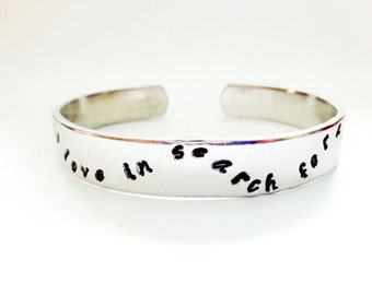 Engraved Secret Message Cuff Bracelet - Personalized Bracelet, Music is Love In Search For a Word - Hidden Message - Gift For Her