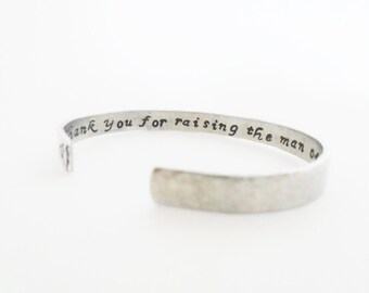 Mother of the Groom Gift | Wedding Gift | Personalized Gift | Gift Ideas| Thank you for raising... Hammered Textured Bracelet, Customizable