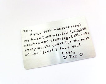 Anniversary Wallet Card for the one You LOvE add Your Own wording and create a Timeless Keepsake for Him