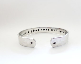 Secret Message Cuff Bracelet, Teachers Gift, Graduation Gift, Teachers plant seeds that...Hammered Textured, Custom, By Timeless Maiden