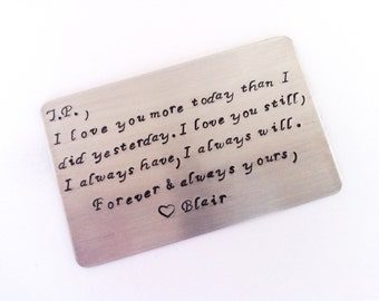 Wallet Insert Keepsake Card - Anniversary Gift, Maid of Honor, Bridesmaid,Grooms, Weddings -Create Your Own Message