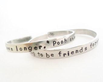 Personalized Bracelet Set - Your Custom Wording - Friendship Bracelets - A Pair of Hand Stamped Bracelets - Customizable