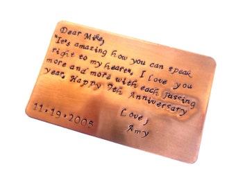 Copper Wallet Insert 7th Year Anniversary Keepsake Card - For His Wallet - Wallet Card - Anniversary Card -