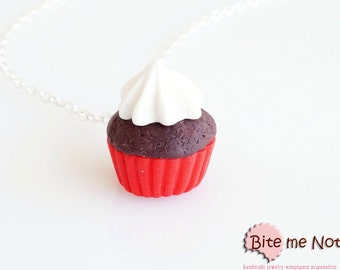 Mini Cupcake Necklace - Cupcake Charm, Cupcake Jewelry, Mini Cupcake, Miniature Food, Polymer Clay Sweets, Kawaii Jewelry