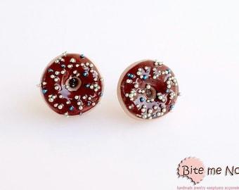 Food Jewelry - Chocolate Donuts Stud Earrings, Mini Donuts Post Earrings, Doughnut Earrings, Chocolate Mini Donuts