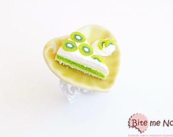 Mini Food Kiwi Pastry Ring, Miniature Food, Cake Ring, Polymer Clay Sweets, Mini Food, Kawaii Jewelry, Foodie Gift