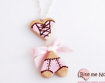 Mini Food Lingerie Set Cookies Necklace - Miniature Charms