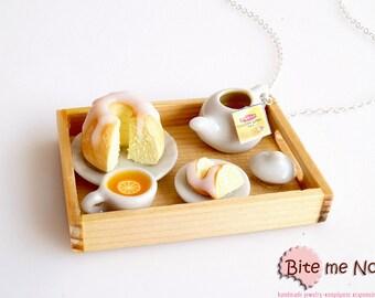 Miniature Food Tea and Cake Tray Necklace, Dollhouse Tray, Mini Food Jewelry, Kawaii Jewelry, Cake Jewelry, Foodie Gift