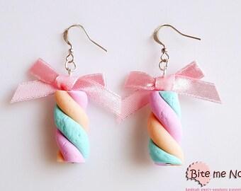 Marshmallows Hook Earrings, Mini Food, Candy Earrings, Soft Candy Earrings, Candy Jewelry, Marshmallows Jewelry, Kawaii Jewelry