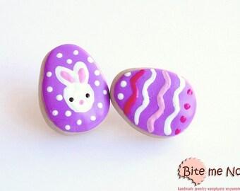 Mini Food Easter Egg Biscuits Stud Earrings, Easter cookies, Cookies Jewelry, Food Jewelry, Hand Painted Eggs, Kawaii jewelry, Easter Gifts