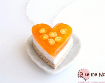 Food Jewelry Orange Jelly Cheesecake Necklace - Miniature Food Jewelry