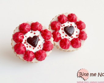 Polymer Clay Sweets Valentine Tarts Stud Earrings, Mini Food Jewelry, Miniature Sweets, Kawaii Jewelry, Cute Jewelry, Miniature Food Jewelry