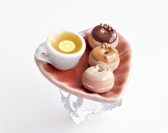 Tea and Donuts Ring, Mini Doughnuts, Miniature Food, Donut Charm, Donuts Jewelry, Faux Food, Tea Cup Ring, Kawaii Ring