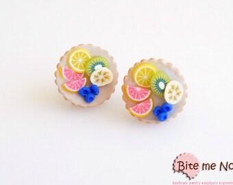 Tiny Fruit Tarts Stud Earrings, Tarts Post Earrings, Fruit Earrings, Fruit Jewelry, Mini Food, Miniature Food, Kawaii Jewelry