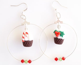 Christmas Cupcakes Hoops Earrings, Christmas Gifts, Cupcakes Hoops, Food Jewelry, Polymer Clay Jewelry, Kawaii Jewelry, Black Friday Sale