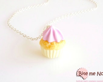 Cupcake Necklace, Cupcake Charm, Cupcake Jewelry, Mini Cupcake, Miniature Food, Polymer Clay Sweets, Kawaii Jewelry, Foodie Gift